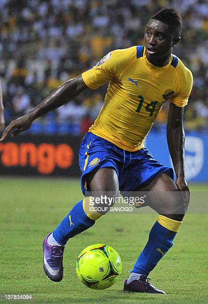Gabon's midfielder Levy Clement Madinda dribbles during the Africa Cup of Nations 2012 Group C football match between Gabon and Morocco at the stade...