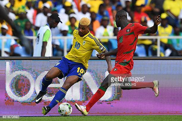 Gabon's midfielder Mario Lemina challenges GuineaBissau's defender Agostinho Soares during the 2017 Africa Cup of Nations group A football match...