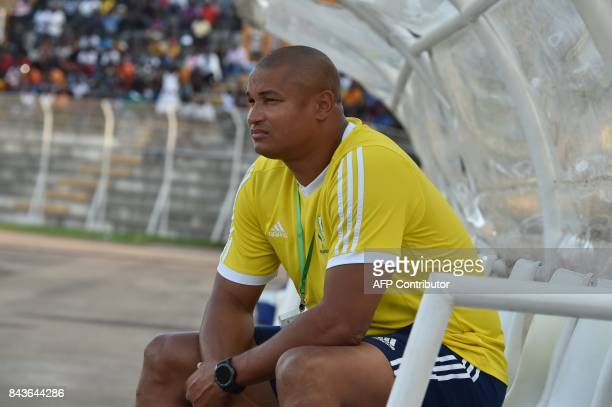 Gabon's National Football team general manager Daniel Cousin attends the FIFA 2018 World Cup qualification football match between Ivory Coast and...