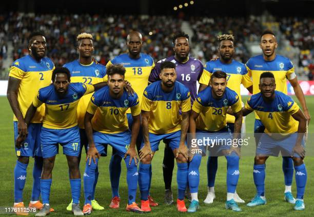 Gabon's players pose for a picture prior to the friendly football match between Morocco and Gabon in Tangier on October 15, 2019.