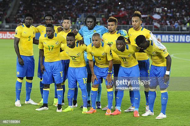 Gabon's players pose together before the 2015 African Cup of Nations Group A soccer match between Equatorial Guinea and Gabon at Bata Stadium in Bata...