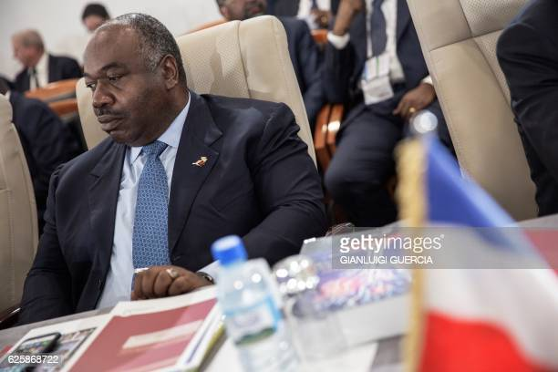 "Gabon's President Ali Bongo attends the handover ceremony of the Francophonie presidency between Senegal and Madagascar during the 16th ""Sommet de la..."