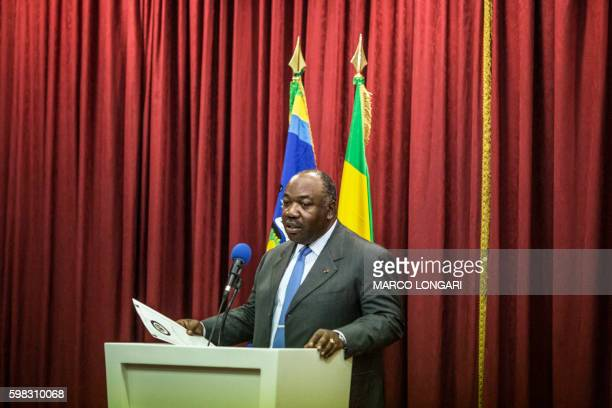 TOPSHOT Gabon's President Ali Bongo Ondimba delivers a speech during a press conference on September 1 2016 Around 1000 people have been arrested in...