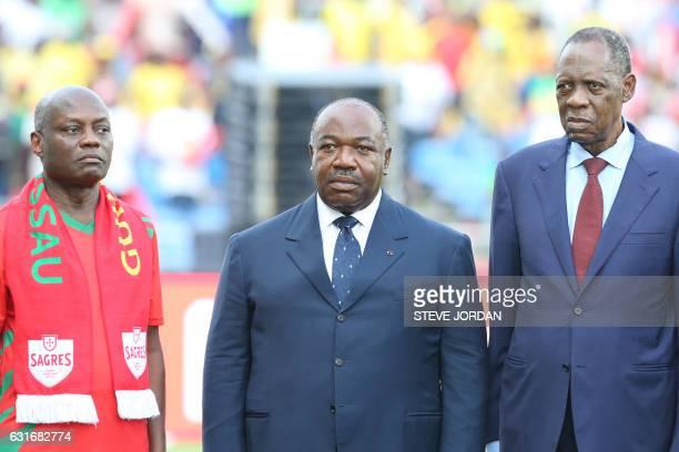 Gabon's President Ali Bongo Ondimba poses with GuineaBissau's President Jose Mario Vaz and Confederation of African Football president Issa Hayatou...
