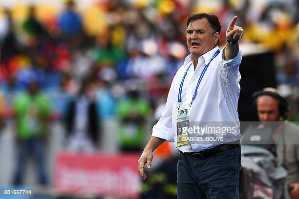 Gabon's Spanish coach Jose Antonio Camacho reacts during the 2017 Africa Cup of Nations group A football match between Gabon and GuineaBissau at the...