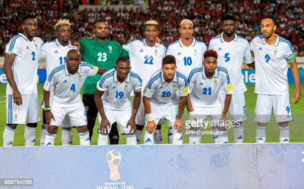 Gabon's Team during their FIFA world Cup 2018 Group C football match between Morocco and Gabon on October 7 at Mohammed V Stadium in Casablanca / AFP...