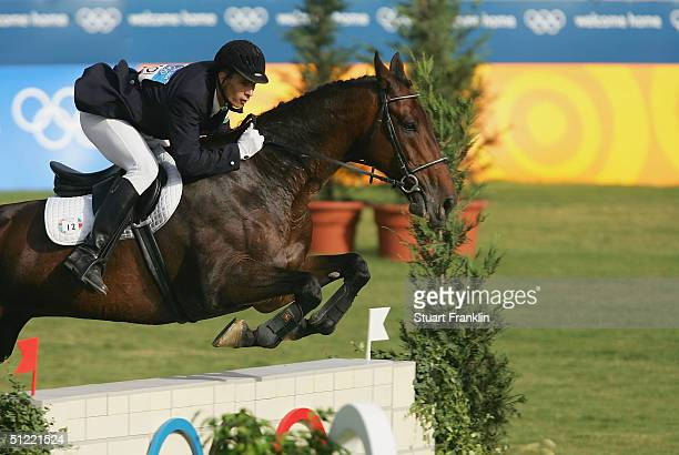 Gabor Balogh of Hungary competes on Dino in the men's riding event of the modern pentathlon on August 26, 2004 during the Athens 2004 Summer Olympic...