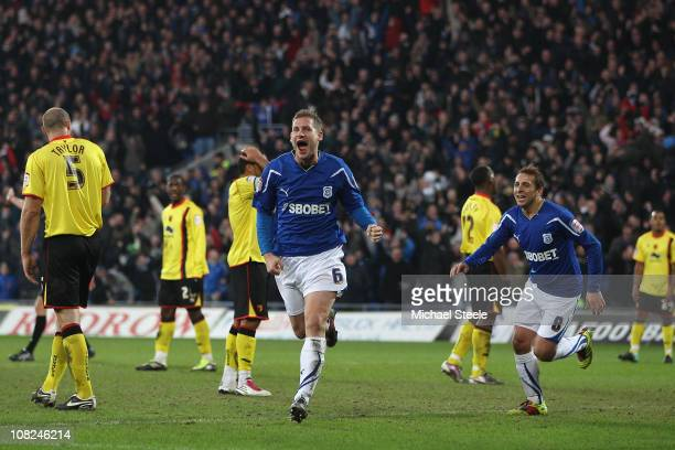 Gabor Gyepes of Cardiff celebrates scoring his sides fourth goal during the npower Championship game between Cardiff City and Watford at Cardiff City...
