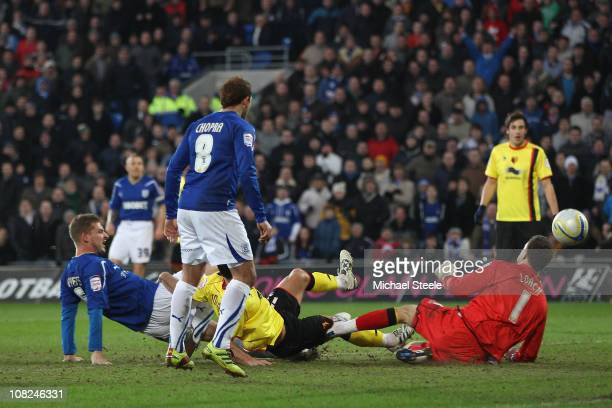 Gabor Gyepes of Cardiff scores his team's fourth goal during the npower Championship match between Cardiff City and Watford at Cardiff City stadium...