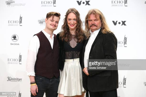Gabor Mandoki and his girlfriend Sophie Roecken and Leslie Mandoki arrive for the Echo Award at Messe Berlin on April 12, 2018 in Berlin, Germany.
