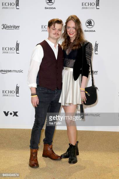 Gabor Mandoki and Sophie Roecken arrive for the Echo Award at Messe Berlin on April 12, 2018 in Berlin, Germany.