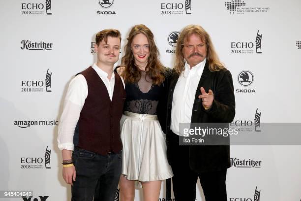 Gabor Mandoki, Sophie Roecken and Leslie Mandoki arrive for the Echo Award at Messe Berlin on April 12, 2018 in Berlin, Germany.