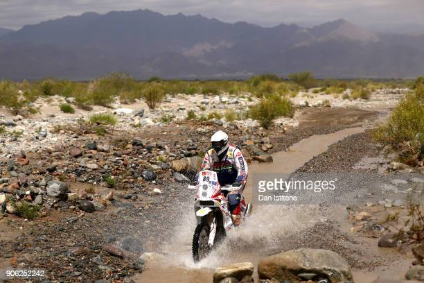 Gabor Saghmeister of Serbia and KTM Saghmeister rides a 450 Rally Replica KTM bike in the Classe 22 Marathon during stage eleven of the 2018 Dakar...