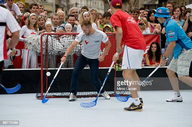 Gabor Talmacsi of Hungary and Scot Racing takes part in the preevent Floorball Match with Riders in Brno city on August 13 2009 in Brno Czech Republic