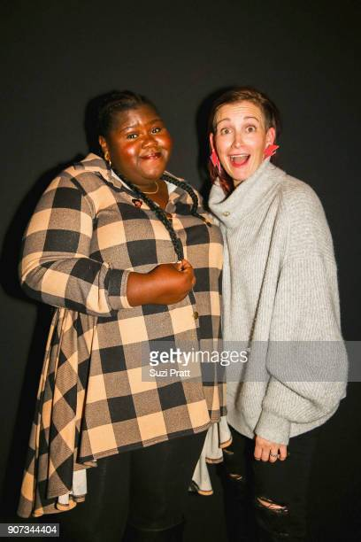 Gabourey Sidibe and Amy Emmerich pose for a photo at the Refinery29 and TNT Shatterbox Anthology Season 2 Sundance Premiere Party Firewood on January...