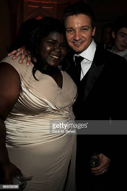 Gabourey Sidibe and Jeremy Renner attends the BAFTA Soho House Grey Goose after party at the Grosvenor House Hotel on February 21 2010 in London...