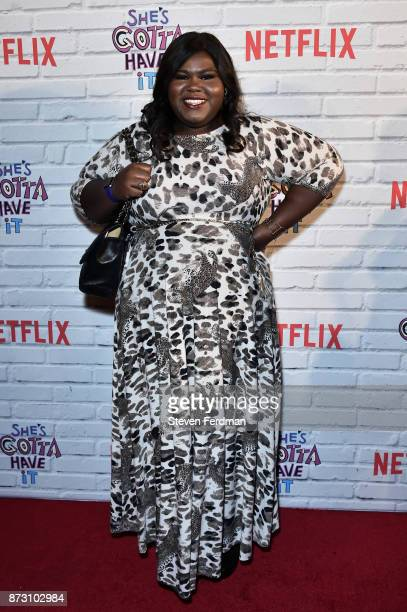 Gabourey Sidibe attends the Netflix Original Series 'She's Gotta Have It' Premiere at Brooklyn Academy of Music on November 11 2017 in New York City