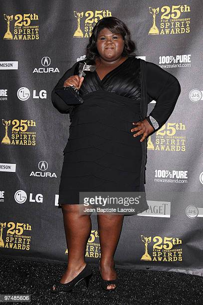 Gabourey Sidibe poses in the press room at the 25th Film Independent Spirit Awards held at Nokia Theatre LA Live on March 5 2010 in Los Angeles...