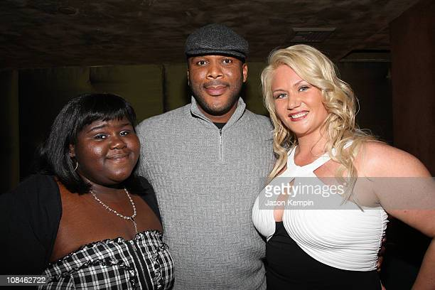 Gabourey Sidibe Tyley Perry and Robin Coleman attend the Tyler Perry's Madea Goes To Jail after party presented by Lionsgate at TAO on February 18...