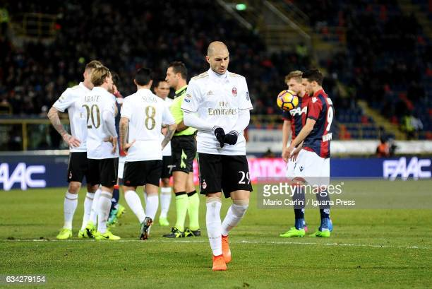 Gabreil Paletta lookks dejected after being sent off during the Serie A match between Bologna FC and AC Milan at Stadio Renato Dall'Ara on February 8...