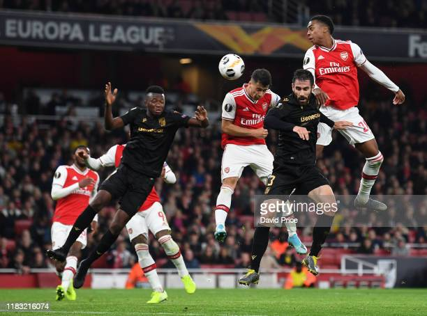 Gabrial Martinelli scores a goal for Arsenal during the UEFA Europa League group F match between Arsenal FC and Vitoria Guimaraes at Emirates Stadium...