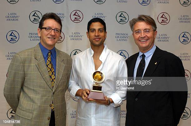 Gabriel Abaroa Latin Recording Academy President actor Adam Rodriguez and Manolo Diaz Chairman of the Board of Trustees of the Latin Recording Academy