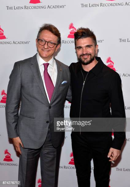 Gabriel Abaroa President and CEO of the Latin Recording Academy and Juanes attend the Leading Ladies Lunch during the 18th annual Latin Grammy Awards...