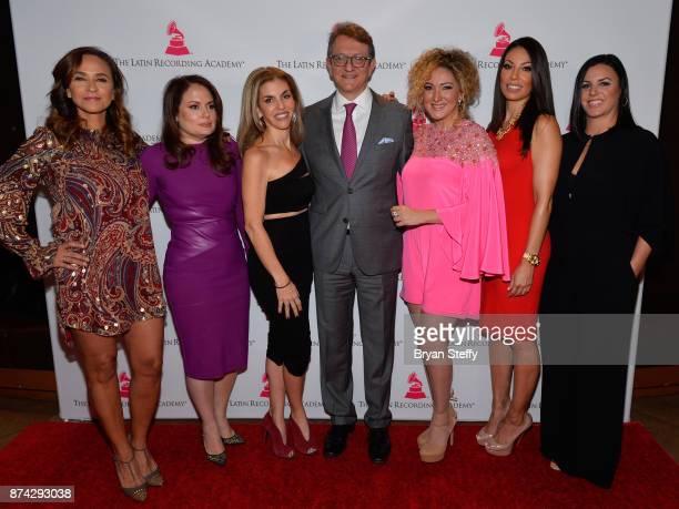 Gabriel Abaroa President and CEO of the Latin Recording Academy with Warner Music of Latin America SVP of Marketing Gabriela Martinez Jessica...