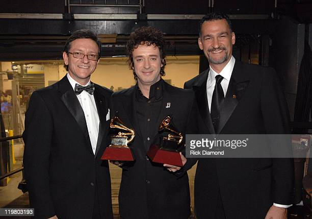 Gabriel Abaroa President of the Latin Recording Academy Gustavo Cerati winner Best Rock Song for 'Crimen' and Kike Santander Chairman of the Latin...
