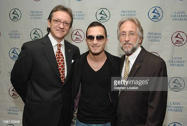 Gabriel Abaroa President of The Latin Recording Academy Obie Bermudez and Neil Portnow Recording Academy President