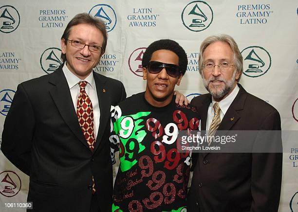 Gabriel Abaroa President of The Latin Recording Academy Tego Calderon and Neil Portnow Recording Academy President