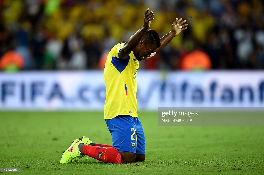 Gabriel Achilier of Ecuador reacts after the 0-0 draw in the 2014 FIFA World Cup Brazil Group E match between Ecuador and France at Maracana on June 25, 2014 in Rio de Janeiro, Brazil.