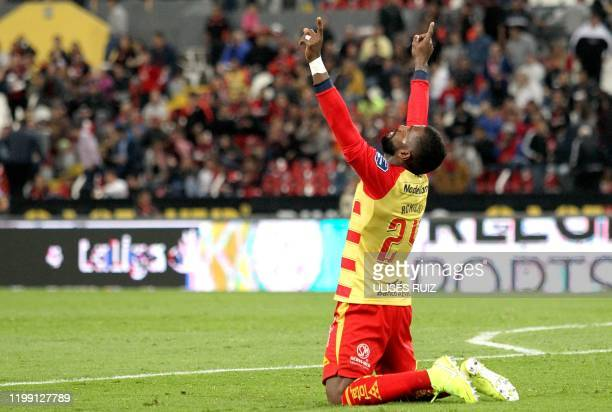 Gabriel Achilier of Morelia celebrates his goal against Atlas during their Mexican Clausura 2020 tournament football match at Jalisco Stadium in...