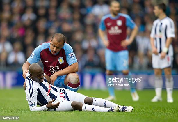 Gabriel Agbonlahor of Aston Villa and Youssouf Mulumbu of West Bromwich Albion during the Barclays Premier League match between West Bromwich Albion...