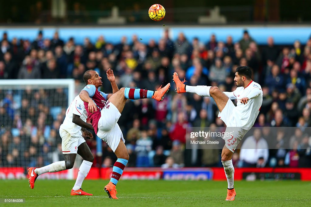 Gabriel Agbonlahor of Aston Villa battles for the ball with Emre Can of Liverpool during the Barclays Premier League match between Aston Villa and Liverpool at Villa Park on February 14, 2016 in Birmingham, England.