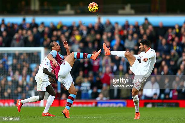 Gabriel Agbonlahor of Aston Villa battles for the ball with Emre Can of Liverpool during the Barclays Premier League match between Aston Villa and...