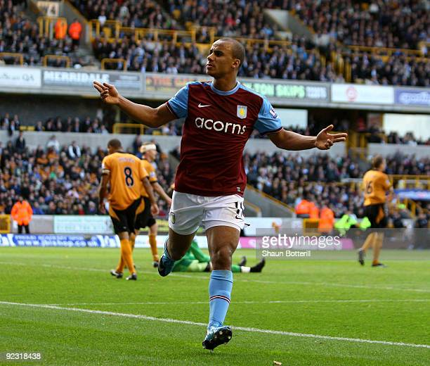 Gabriel Agbonlahor of Aston Villa celebrates after scoring during the Barclays Premier League match between Wolverhampton Wanderers and Aston Villa...