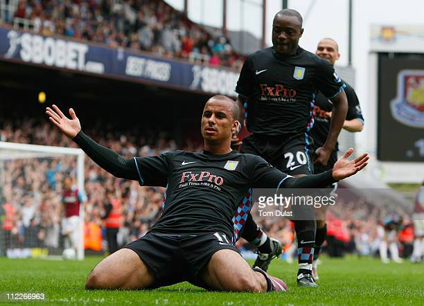 Gabriel Agbonlahor of Aston Villa celebrates after scoring the winning goal during the Barclays Premier League match between West Ham United and...