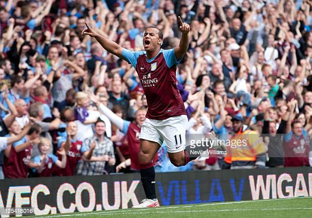Gabriel Agbonlahor of Aston Villa celebrates his goal during the Barclays Premier League match between Aston Villa and Newcastle United at Villa Park...