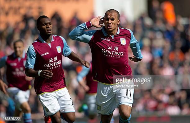 Gabriel Agbonlahor of Aston Villa celebrates his goal for Aston Villa during the Barclays Premier League match between Stoke City and Aston Villa at...