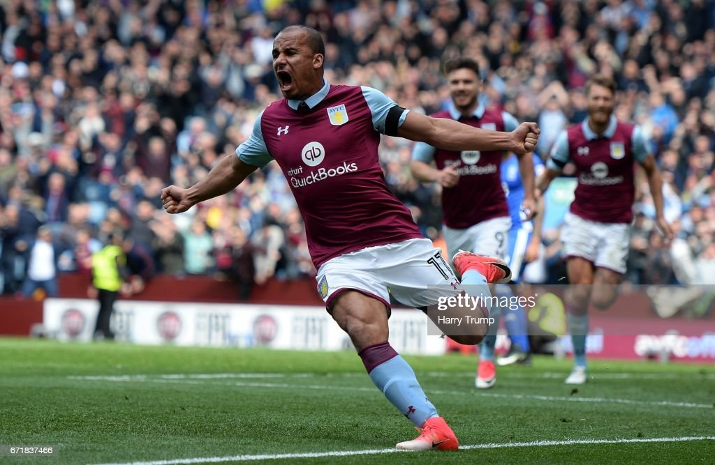Gabriel Agbonlahor of Aston Villa celebrates his sides first goal during the Sky Bet Championship match between Aston Villa and Birmingham City at Villa Park on April 23, 2017 in Birmingham, England.