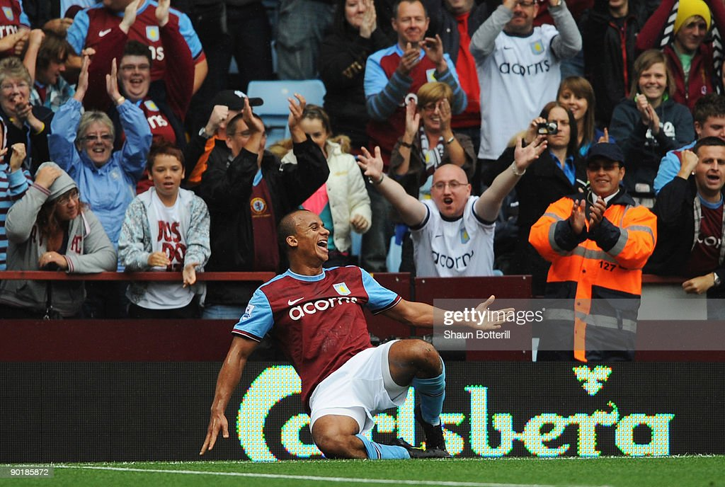 Gabriel Agbonlahor of Aston Villa celebrates his team's second goal during the Barclays Premier League match between Aston Villa and Fulham at Villa Park on August 30, 2009 in Birmingham, England.