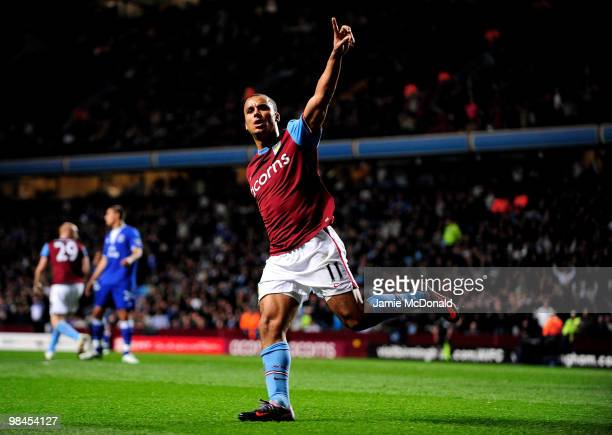 Gabriel Agbonlahor of Aston Villa celebrates scoring his team's first goal during the Barclays Premier League match between Aston Villa and Everton...