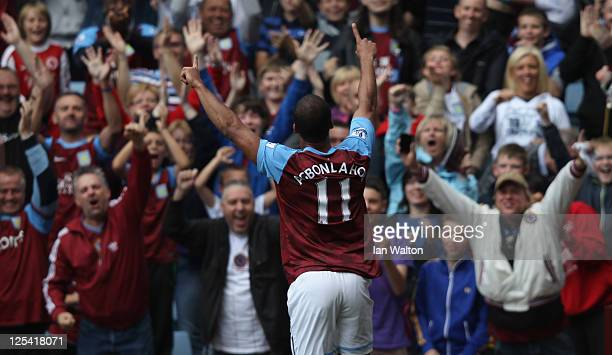 Gabriel Agbonlahor of Aston Villa celebrates scoring the first goal during the Barclays Premier League match between Aston Villa and Newcastle United...
