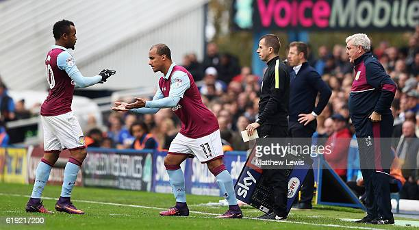 Gabriel Agbonlahor of Aston Villa comes on as Aston Villa substitute for Jordan Ayew of Aston Villa during the Sky Bet Championship match between...