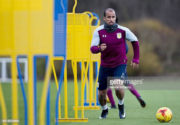 Gabriel Agbonlahor of Aston Villa during a training session at the club's training ground at Bodymoor Heath on January 13 2017 in Birmingham England