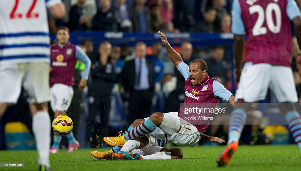 Gabriel Agbonlahor of Aston Villa during the Barclays Premier League match between Queens Park Rangers and Aston Villa at Loftus Road on October 27, 2014 in London, England.