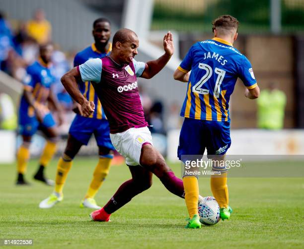Gabriel Agbonlahor of Aston Villa during the PreSeason Friendly match between Shrewsbury Town and Aston Villa at the Greenhous Meadow on July 15 2017...