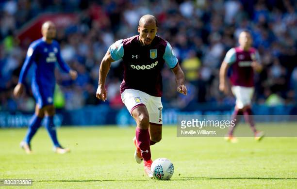 Gabriel Agbonlahor of Aston Villa during the Sky Bet Championship match between Cardiff City and Aston Villa at the Cardiff City Stadium on August 12...