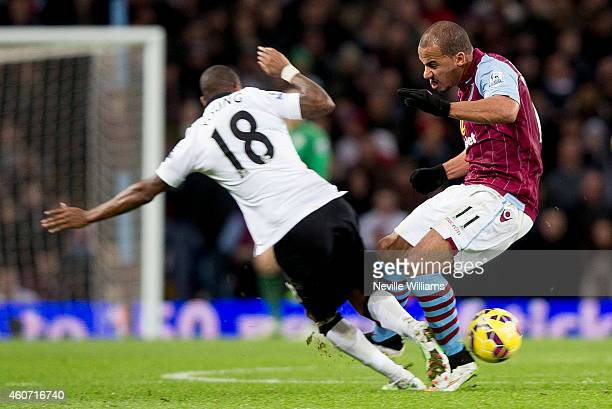 Gabriel Agbonlahor of Aston Villa fouls Ashley Young of Manchester United to get sent off during the Barclays Premier League match between Aston...